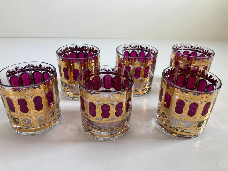 Hand-Painted Set of Six Vintage Culver Glasses with 22-Karat Gold and Red Moorish Design For Sale
