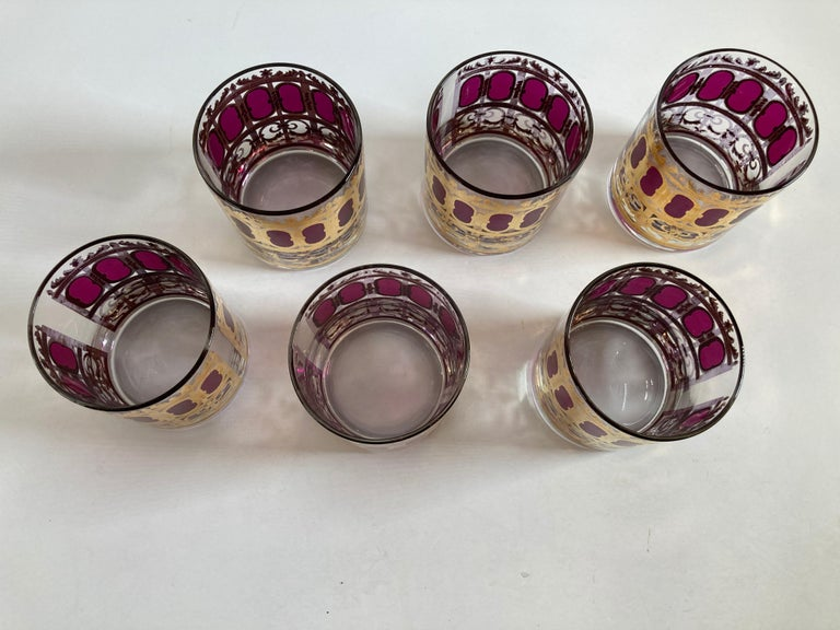 20th Century Set of Six Vintage Culver Glasses with 22-Karat Gold and Red Moorish Design For Sale