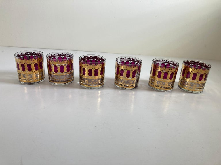 Set of Six Vintage Culver Glasses with 22-Karat Gold and Red Moorish Design For Sale 1
