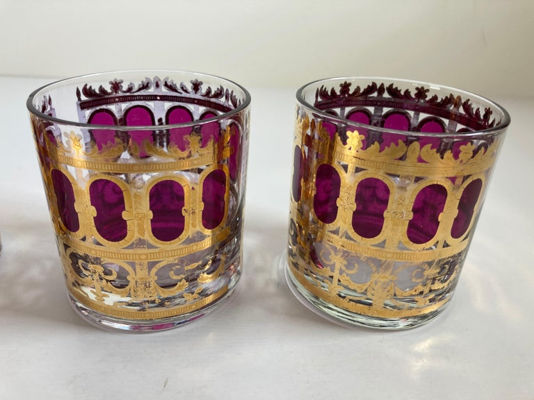 Set of Six Vintage Culver Glasses with 22-Karat Gold and Red Moorish Design For Sale 2