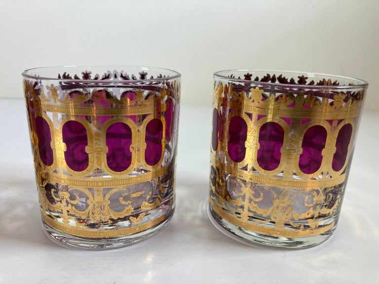 Set of Six Vintage Culver Glasses with 22-Karat Gold and Red Moorish Design For Sale 3