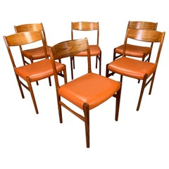Set of Six Vintage Danish Mid-Century Modern Rosewood and Leather Dining Chairs