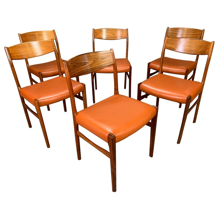 Set Of Six Vintage Danish Mid Century Modern Rosewood And Leather Dining Chairs For At 1stdibs