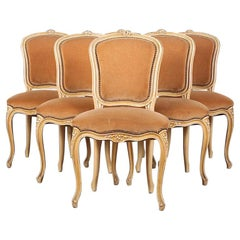 Set of Six Vintage French Louis XV Style Dining Chairs