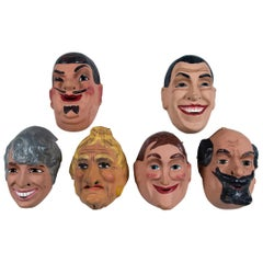 Set of Six Vintage French Three Dimensional Masks