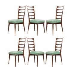 Set of Six Vintage Gaston Poisson Mahogany Dining Chairs