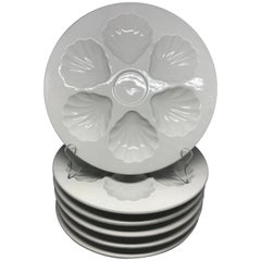 Set of Six Vintage Gien White Oyster Plates
