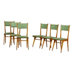 Set of Six Vintage Green Chairs, Italy, 1950s