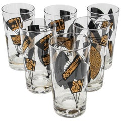 Set of Six Vintage Highball Glasses Black and Gold by Gurgensen's, 1976