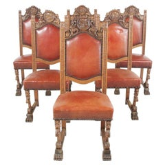 Set of Six Vintage Highly-Carved Leather Dining Chairs FG-1580C