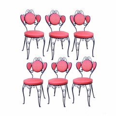 Set of Six Vintage Hollywood Regency Wrought Iron Ice Cream Parlor Dining Chairs
