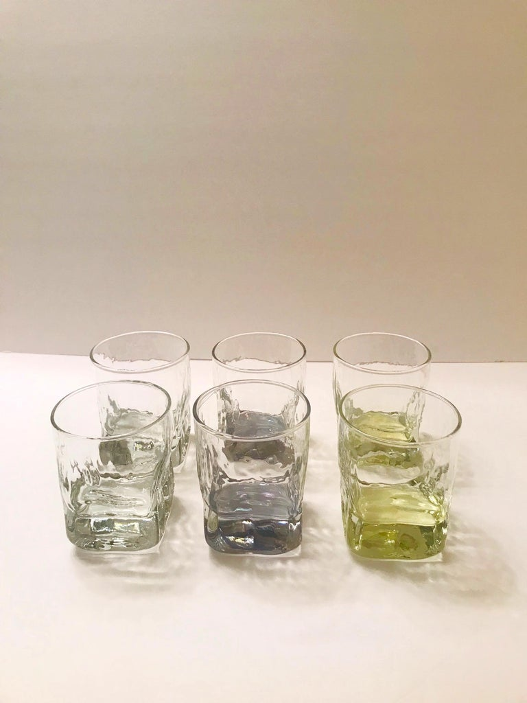 American Set of Six Vintage Iridescent Whiskey Glasses with Ice Glass Design For Sale