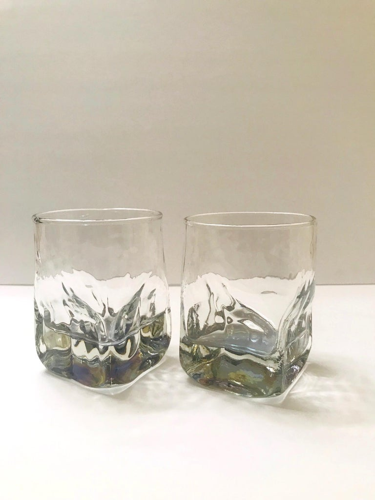 Molded Set of Six Vintage Iridescent Whiskey Glasses with Ice Glass Design For Sale
