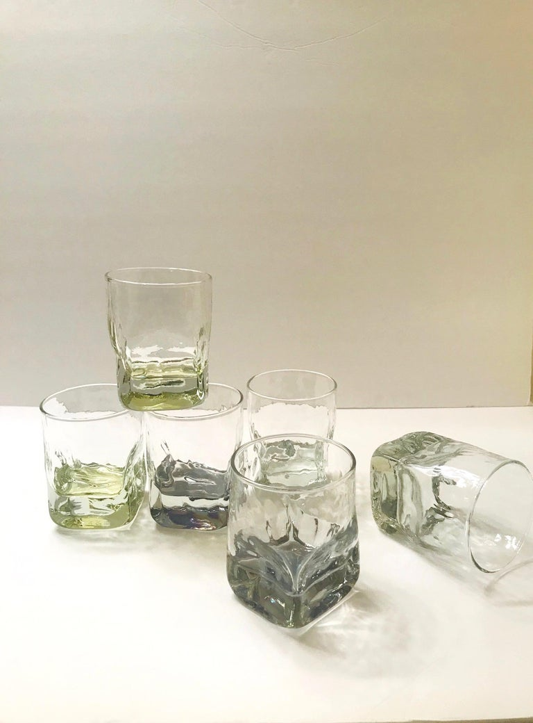 Set of Six Vintage Iridescent Whiskey Glasses with Ice Glass Design For Sale 1