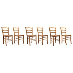 Set of Six Vintage Italian Slat Back Dining Chairs with Rush Seats