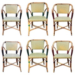 Set of Six Vintage L. Drucker Bistro Armchairs