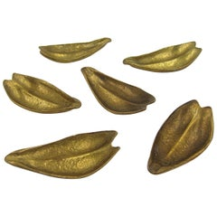 Set of Six Vintage Leaf Dishes or Ashtrays