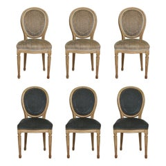 Set of Six Vintage Louis XVI, Style Painted Dining Room Chairs