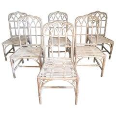 Set von sechs Vintage McGuire Bambus Kathedrale Esszimmerstühle