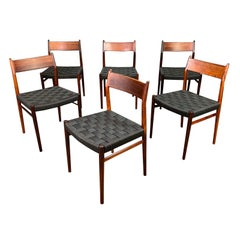 Set of Six Vintage Midcentury Danish Modern Rosewood Dining Chairs Model #418