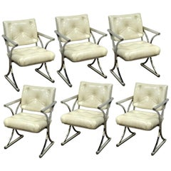 Set of Six Vintage Mid-Century Modern X-Form Dining Armchairs Baughman Era