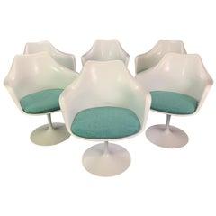 "Set of Six Vintage Midcentury Swivel ""Tulip"" Chairs by Eero Saarinen for Knoll"
