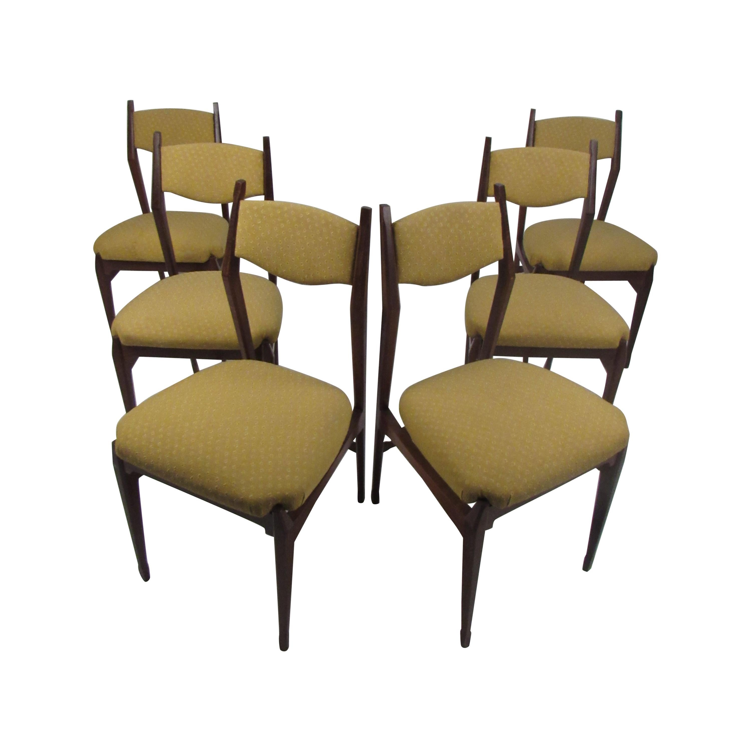 Set of Six Vintage Modern Italian Dining Chairs by Gio Ponti