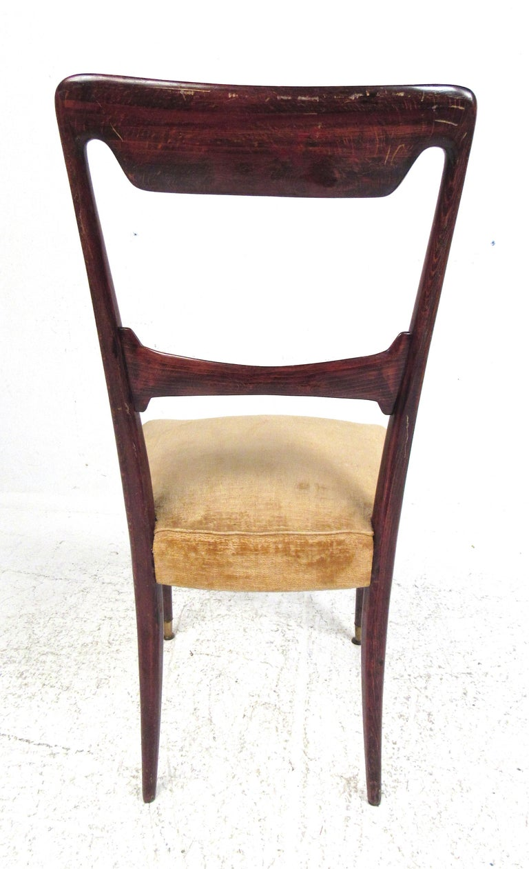 Mid-20th Century Set of Six Vintage Modern Italian Dining Chairs For Sale