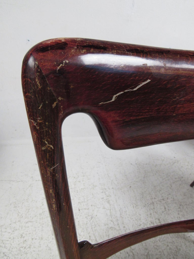 Mahogany Set of Six Vintage Modern Italian Dining Chairs For Sale