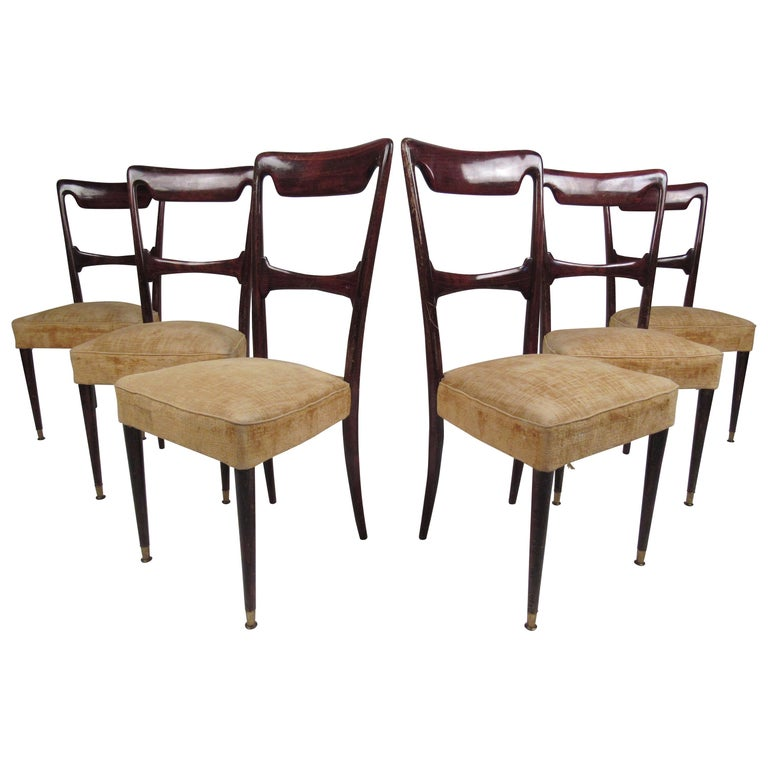 Set of Six Vintage Modern Italian Dining Chairs For Sale