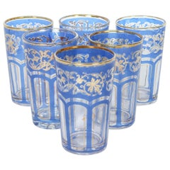 Set of Six Vintage Moroccan Blue and Gold Glasses