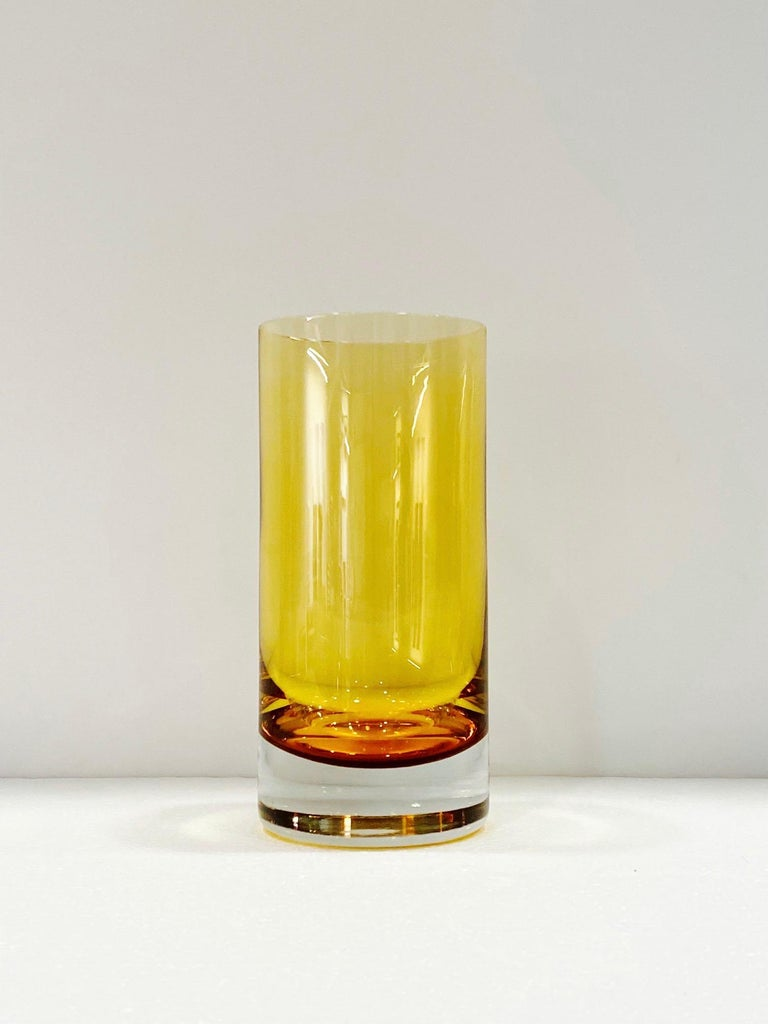 Set of Six Vintage Murano Highball Glasses in Yellow Amber Glass, c. 1980s For Sale 4