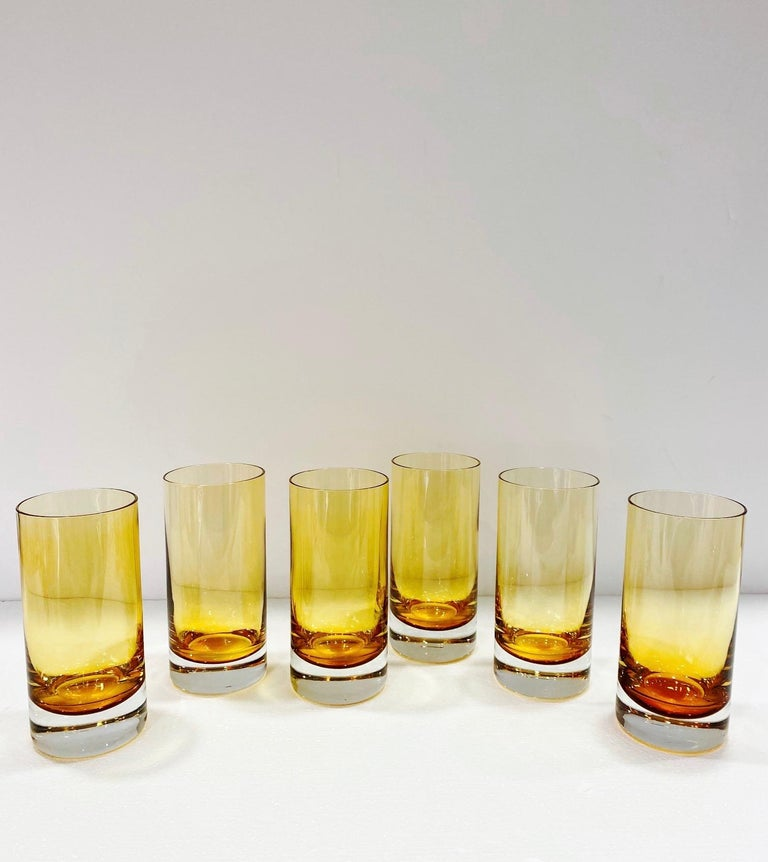 Mid-Century Modern Set of Six Vintage Murano Highball Glasses in Yellow Amber Glass, c. 1980s For Sale