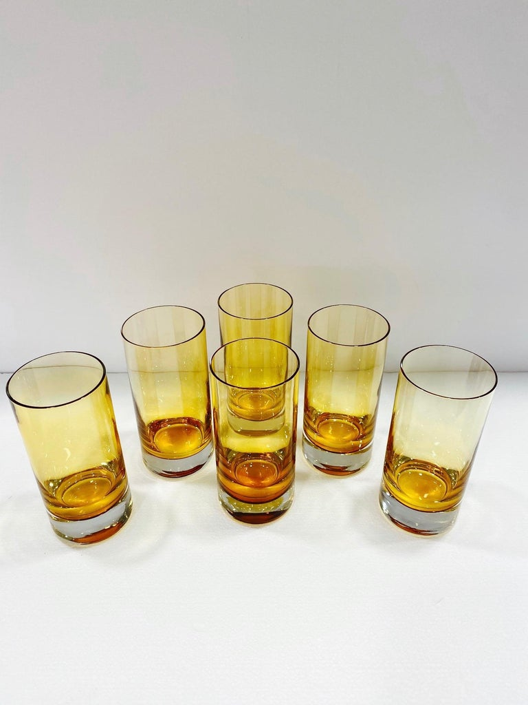 Italian Set of Six Vintage Murano Highball Glasses in Yellow Amber Glass, c. 1980s For Sale