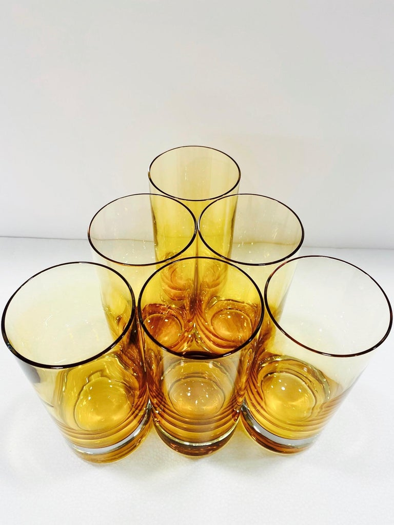 Set of Six Vintage Murano Highball Glasses in Yellow Amber Glass, c. 1980s In Excellent Condition For Sale In Fort Lauderdale, FL