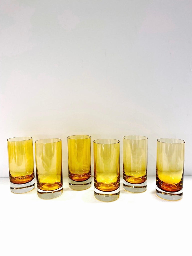 Set of Six Vintage Murano Highball Glasses in Yellow Amber Glass, c. 1980s For Sale 1