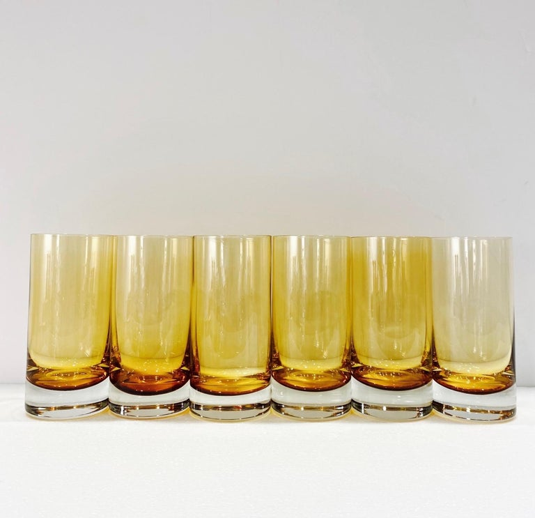 Set of Six Vintage Murano Highball Glasses in Yellow Amber Glass, c. 1980s For Sale 2