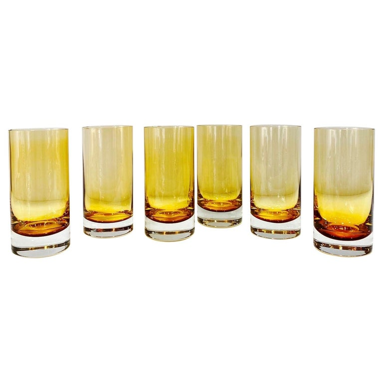 Set of Six Vintage Murano Highball Glasses in Yellow Amber Glass, c. 1980s For Sale