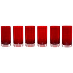 Set of Six Vintage Murano Sommerso Highball Glasses in Red, circa 1970s