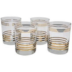Set of Six Vintage Rock Glasses with Gold by Georges Briard
