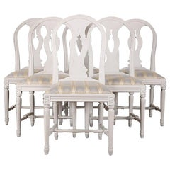 Set of Six Vintage Swedish Neo Classical Gustavian Style Pained Dining Chairs