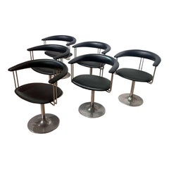 Set of Six Vintage Swivel Armchairs, Metal, Black Leather, Netherlands, 1970s