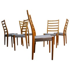 Set of Six Vintage Teak Dining Side Chairs by Svegards Markaryd Denmark