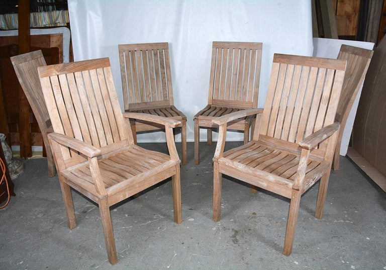 Set Of Six Vintage Teakwood Outdoor Dining Chairs