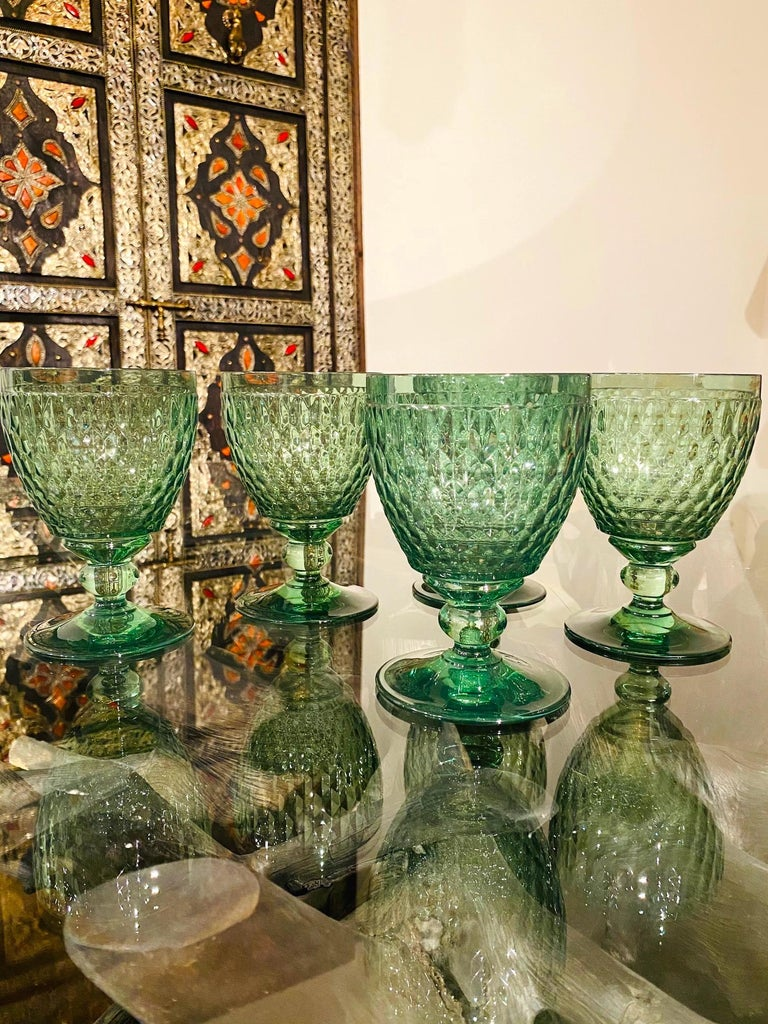Set of Six Vintage Villeroy & Boch Blown Crystal Goblets in Green, circa 2005 4