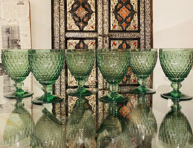 Set of Six Vintage Villeroy & Boch Blown Crystal Goblets in Green, circa 2005 5