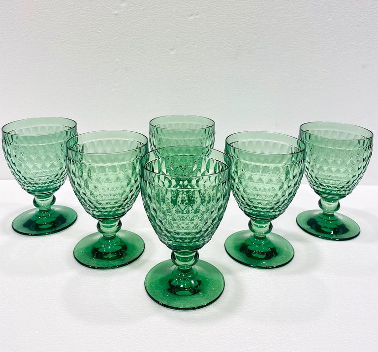 Set of six German crystal goblets from Villeroy & Boch. Blown glass stemware featuring hobnail crystal with classic diamond pattern. Designed with deliberate short stems with glass ball accent in a beautiful emerald green. Each glass in signed