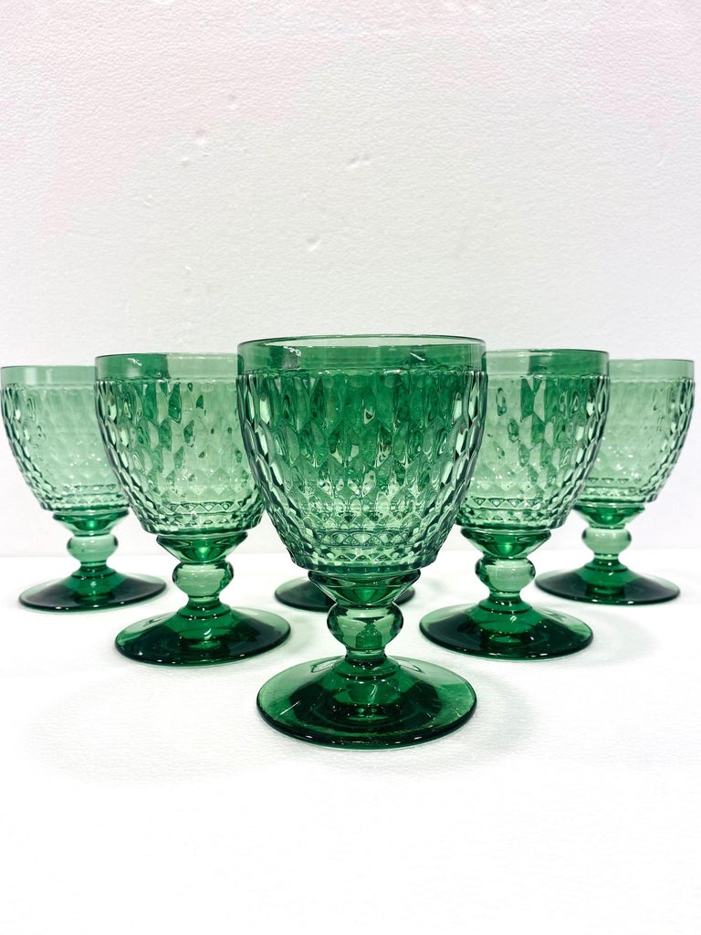 Hollywood Regency Set of Six Vintage Villeroy & Boch Blown Crystal Goblets in Green, circa 2005
