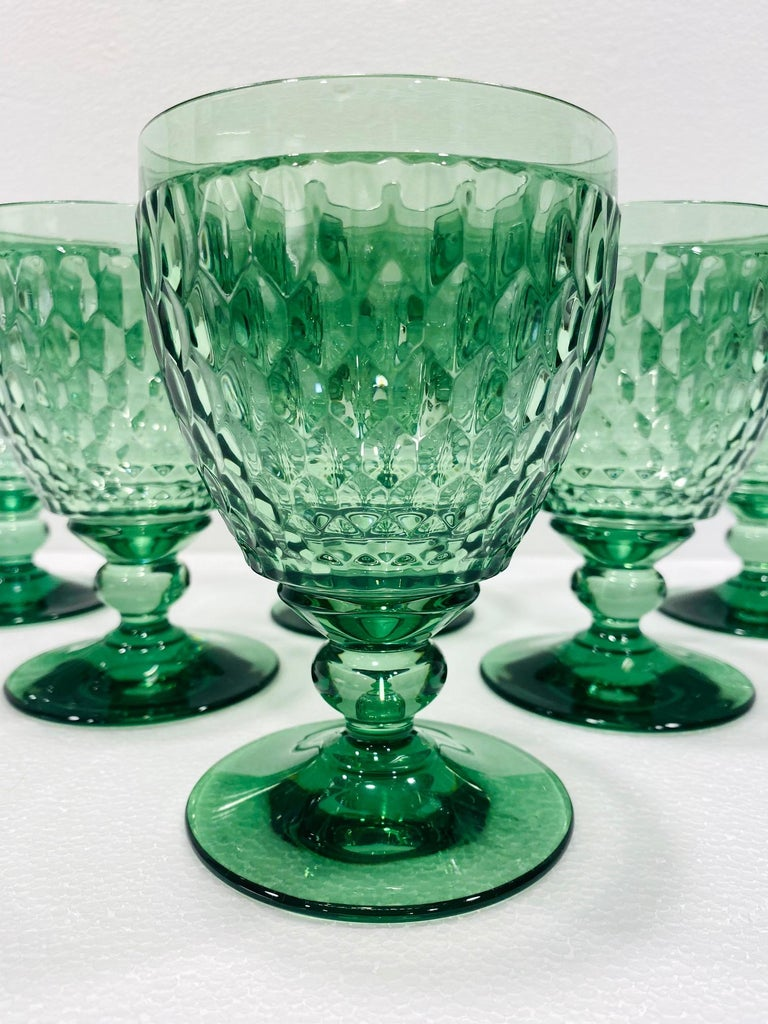 German Set of Six Vintage Villeroy & Boch Blown Crystal Goblets in Green, circa 2005