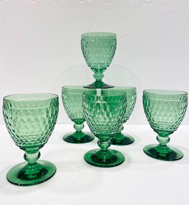 Hand-Crafted Set of Six Vintage Villeroy & Boch Blown Crystal Goblets in Green, circa 2005